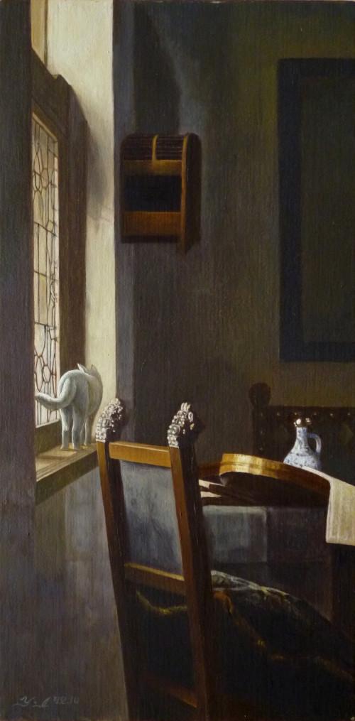 フェルメールの絵に忍び込んだ猫たち・背もたれ椅子のある窓辺