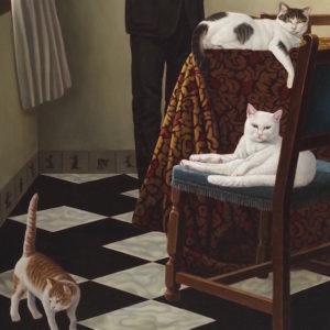 《猫たちといるフェルメール風室内》部分